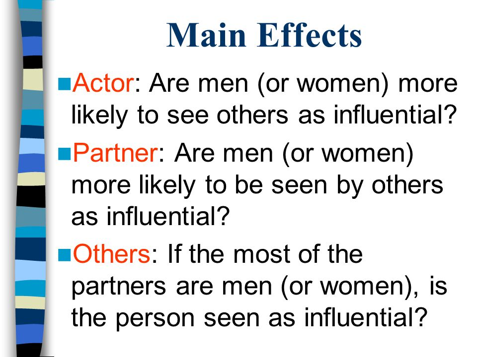 Main Effects Actor: Are men (or women) more likely to see others as influential