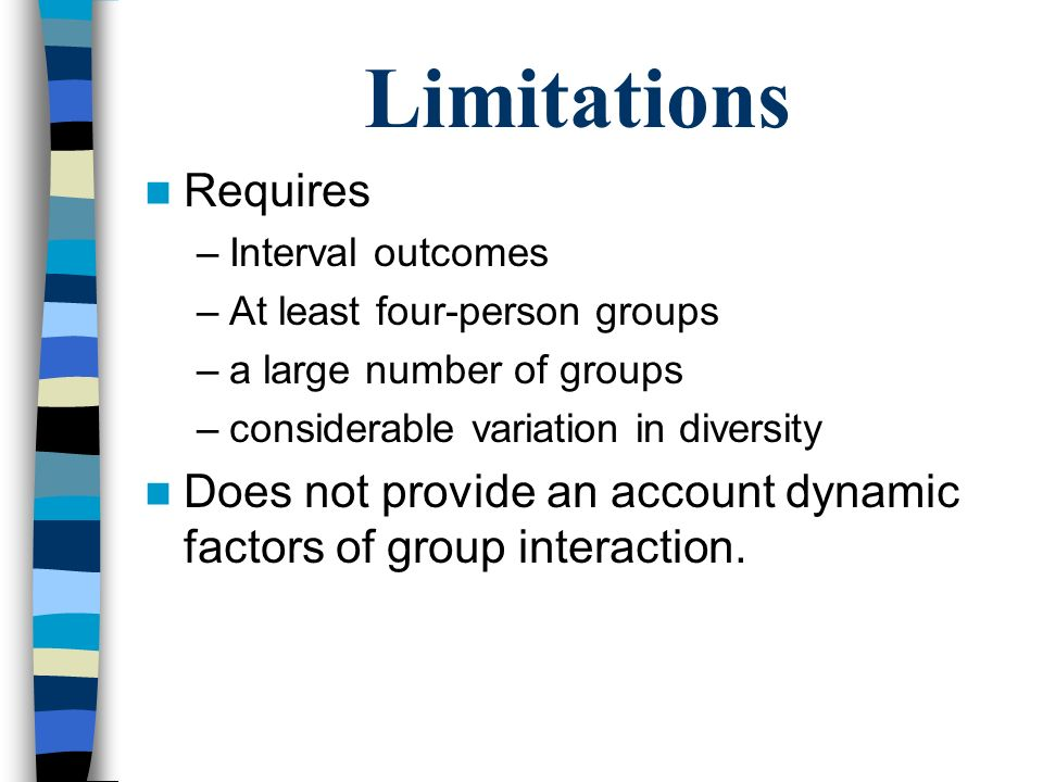 Limitations Requires. Interval outcomes. At least four-person groups. a large number of groups. considerable variation in diversity.