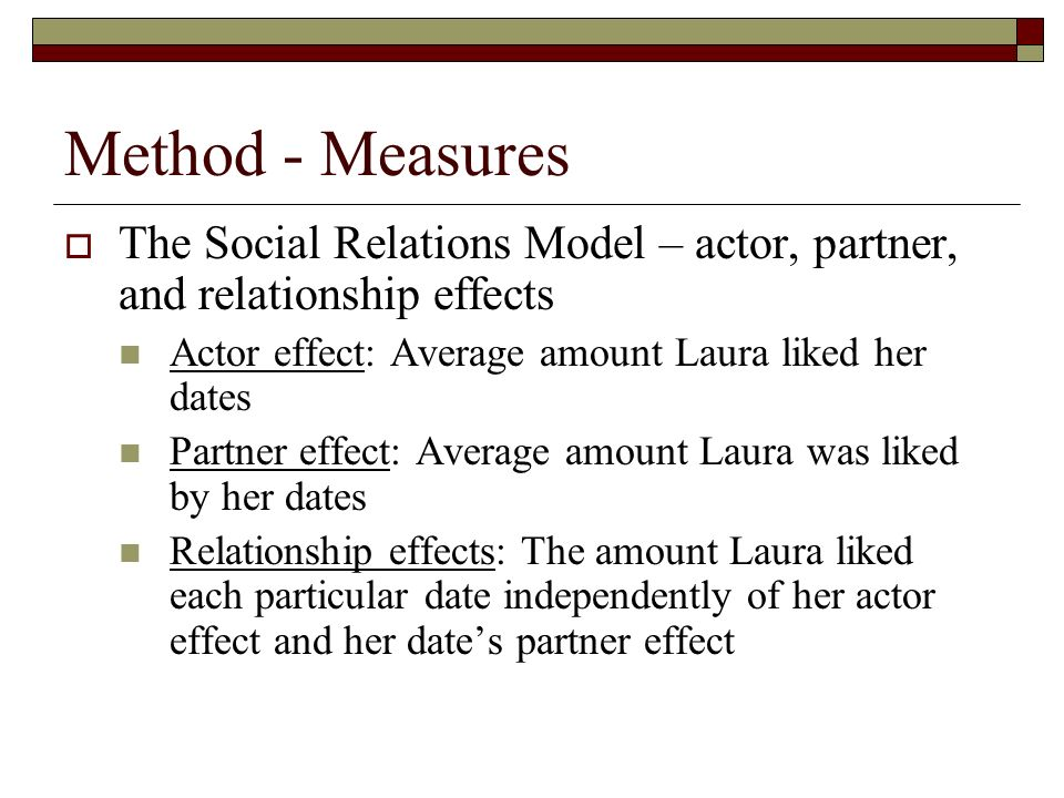 Method - Measures The Social Relations Model – actor, partner, and relationship effects. Actor effect: Average amount Laura liked her dates.