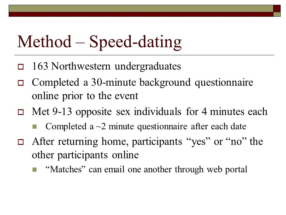 Method – Speed-dating 163 Northwestern undergraduates