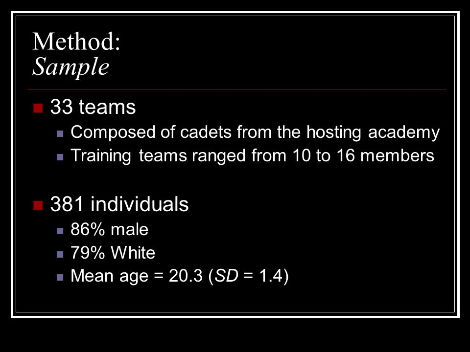 Method: Sample 33 teams 381 individuals