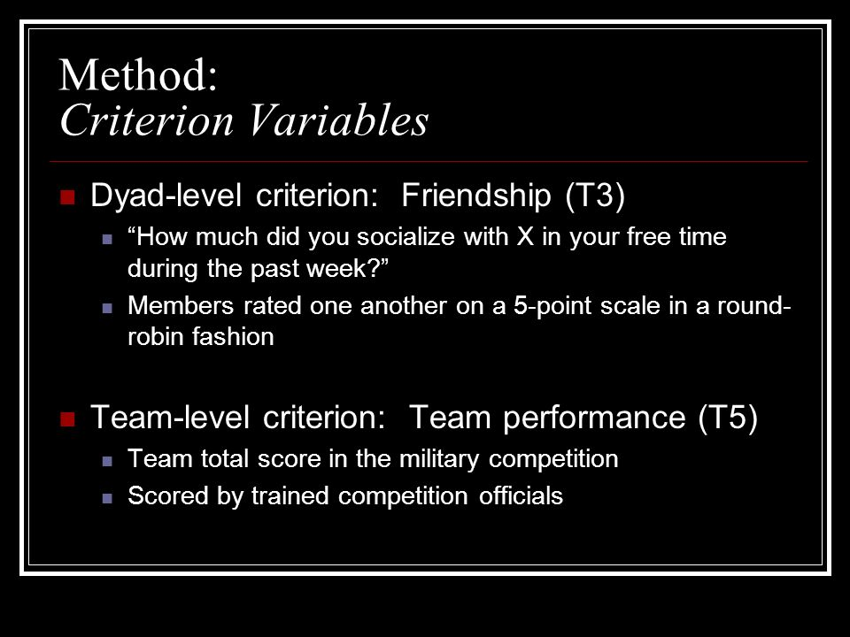Method: Criterion Variables