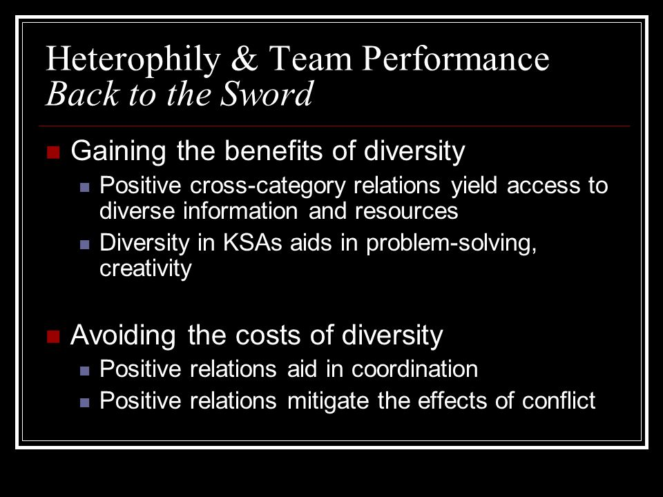 Heterophily & Team Performance Back to the Sword