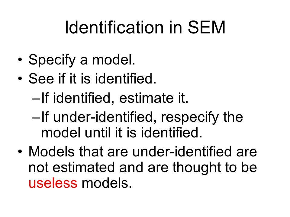 Identification in SEM Specify a model. See if it is identified.