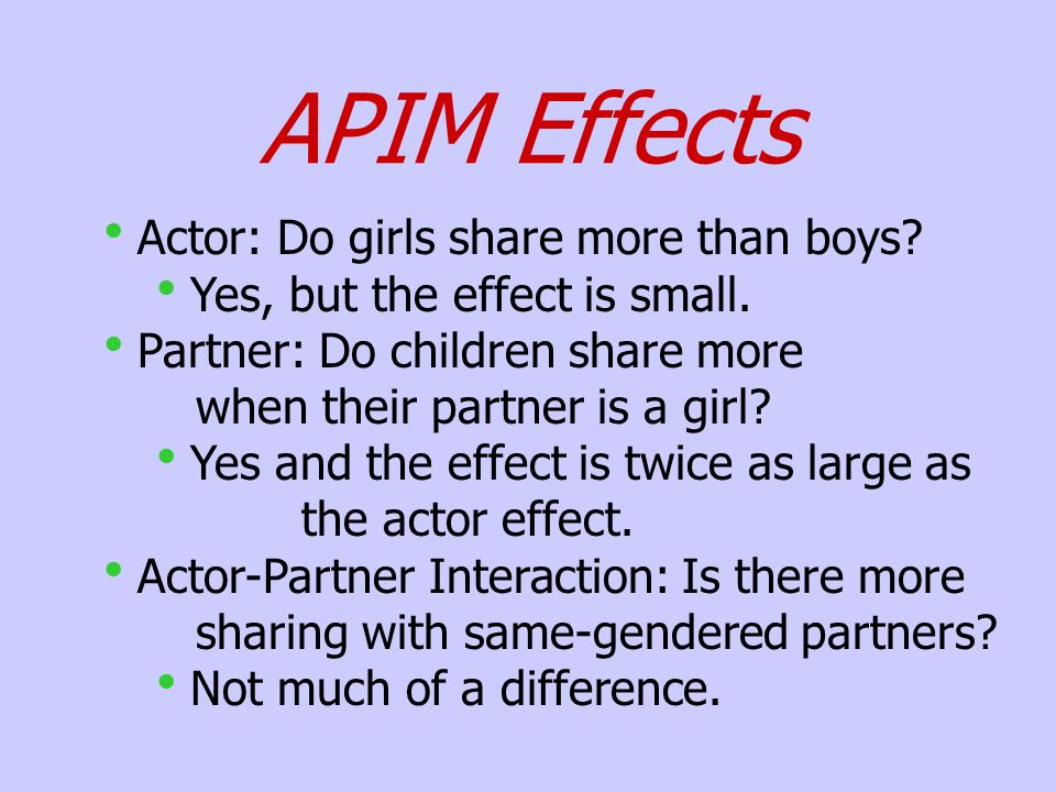 APIM Effects Actor: Do girls share more than boys