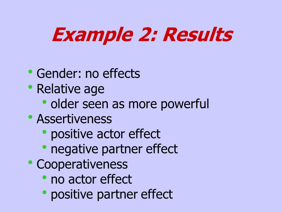 Example 2: Results Gender: no effects Relative age