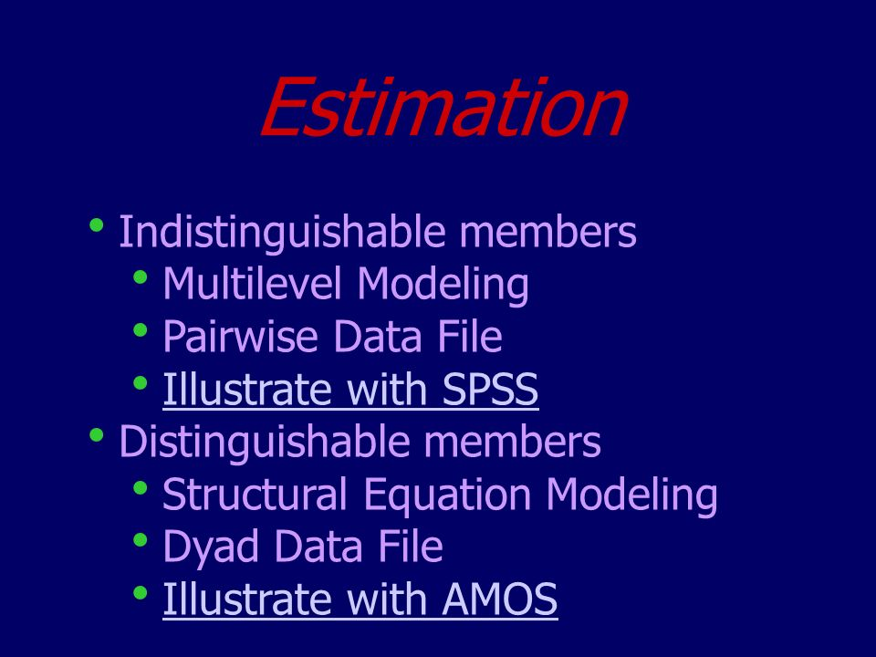 Estimation Indistinguishable members Multilevel Modeling