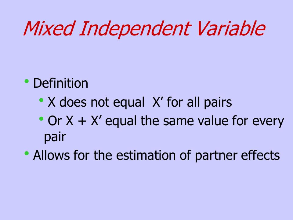 Mixed Independent Variable