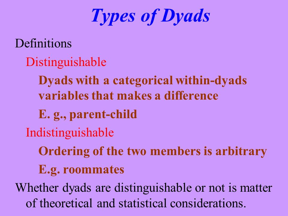 Types of Dyads Definitions Distinguishable
