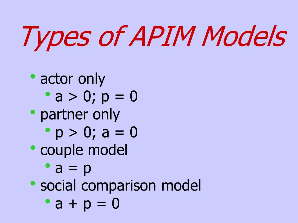 Types of APIM Models actor only a > 0; p = 0 partner only