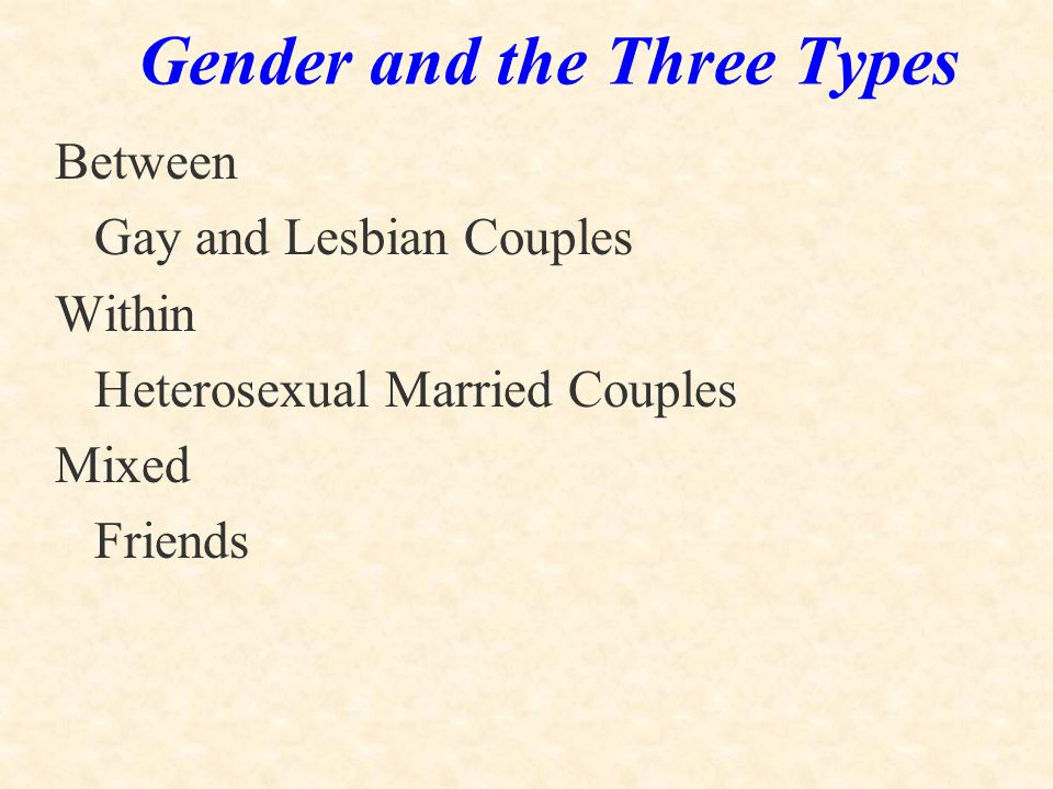 Gender and the Three Types