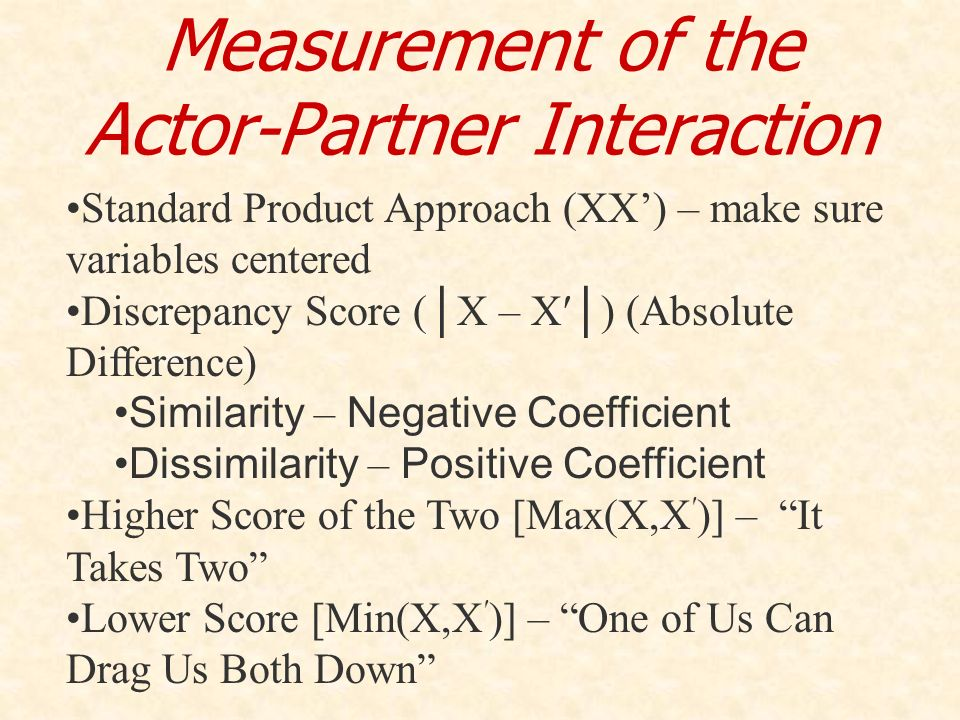 Measurement of the Actor-Partner Interaction