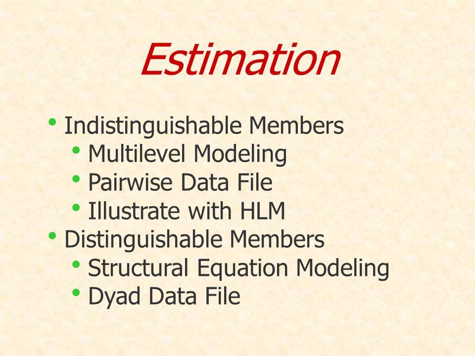Estimation Indistinguishable Members Multilevel Modeling