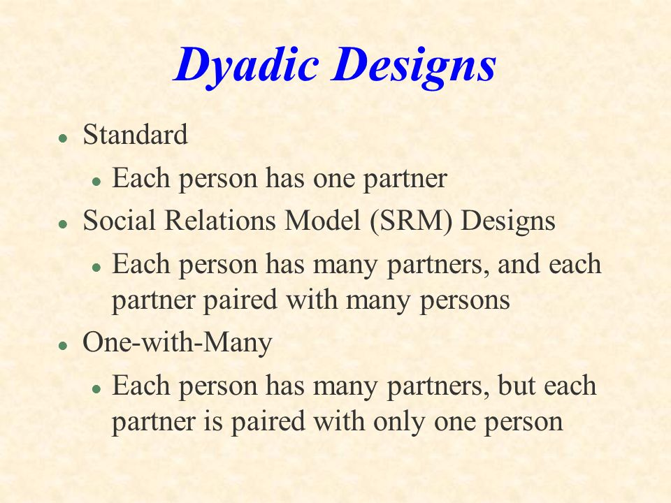 Dyadic Designs Standard Each person has one partner