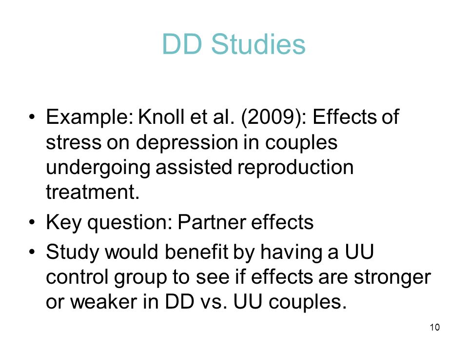 DD Studies Example: Knoll et al. (2009): Effects of stress on depression in couples undergoing assisted reproduction treatment.