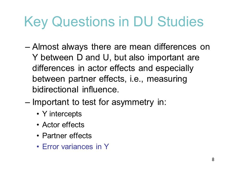 Key Questions in DU Studies