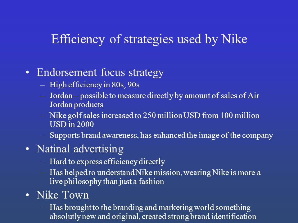 nike marketing strategies and current company With respect to this the report contains comprehensive marketing plan components including company analysis (nike's current and future status), situation or market analysis and competitors.