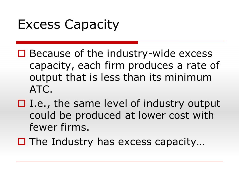 Excess Capacity Because of the industry-wide excess capacity, each firm produces a rate of output that is less than its minimum ATC.