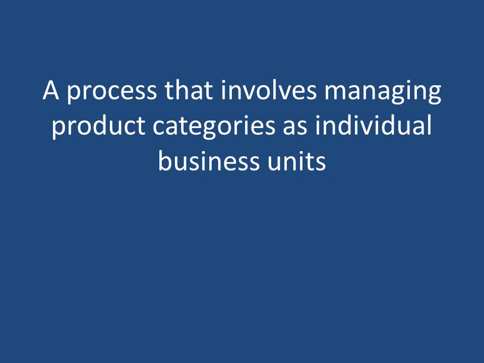 A process that involves managing product categories as individual business units