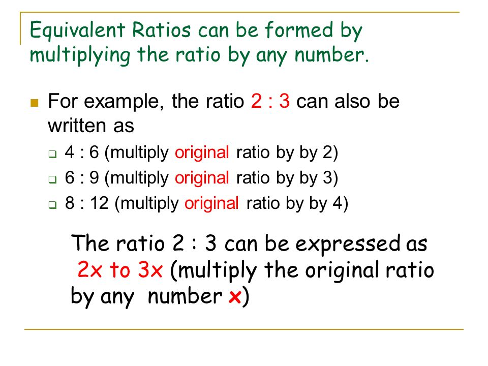 The ratio 2 : 3 can be expressed as
