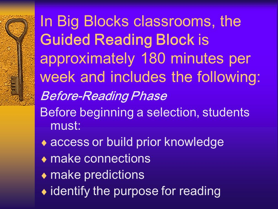 In Big Blocks classrooms, the Guided Reading Block is approximately 180 minutes per week and includes the following: