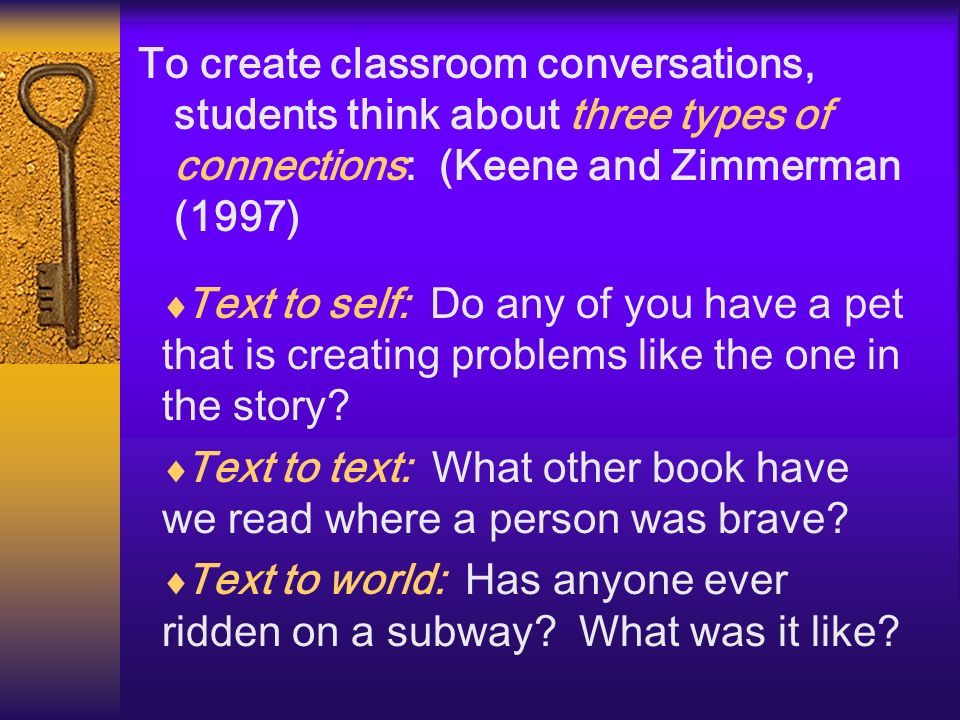 To create classroom conversations, students think about three types of connections: (Keene and Zimmerman (1997)