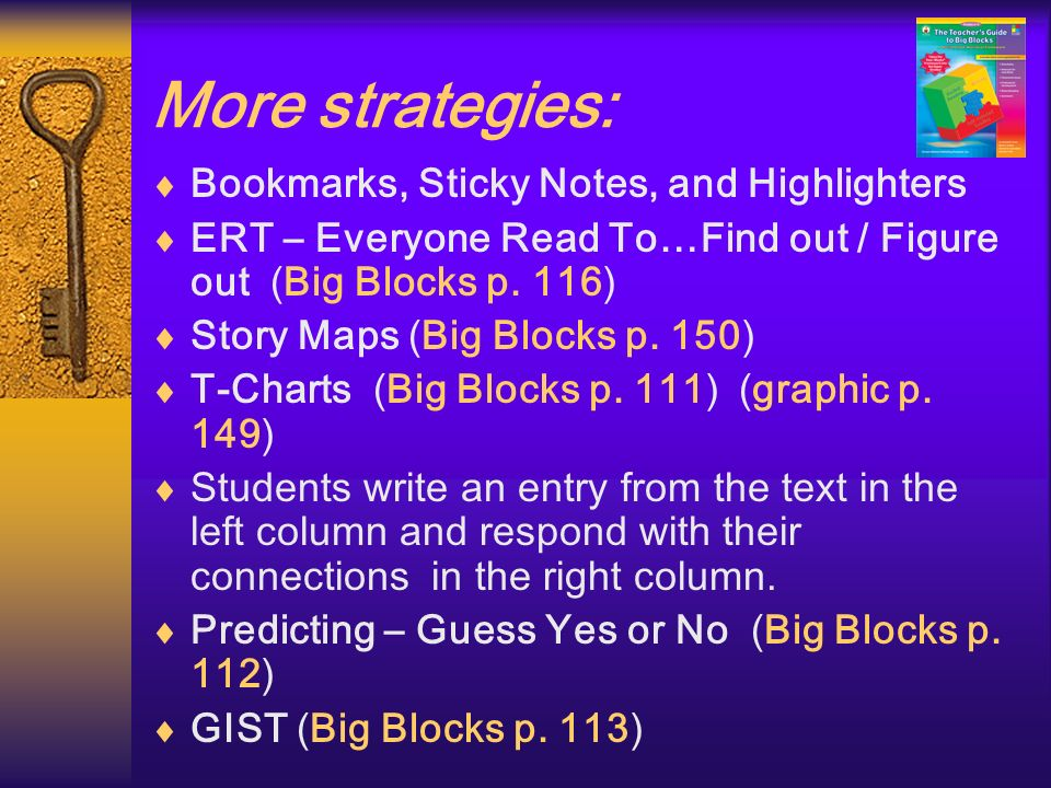 More strategies: Bookmarks, Sticky Notes, and Highlighters