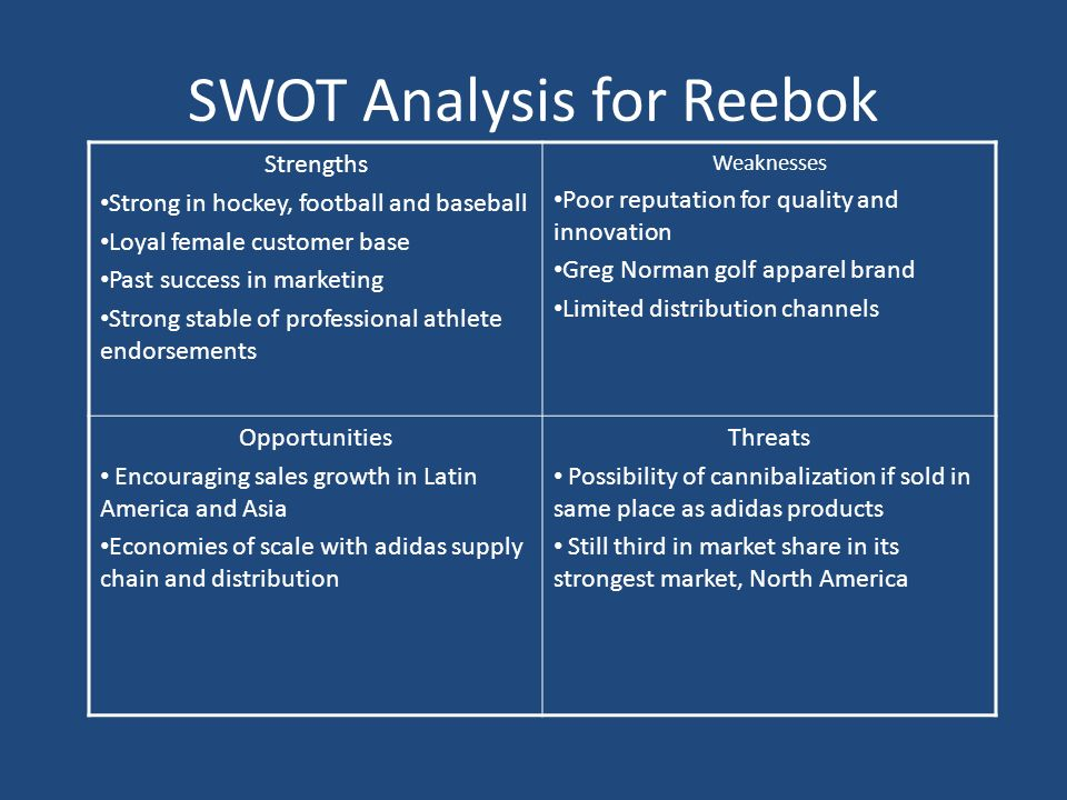 reebok swot Reebok, in terms of their products, is not entirely different from nike reebok is involved in the design and marketing of both athletic and non-athletic footwear.