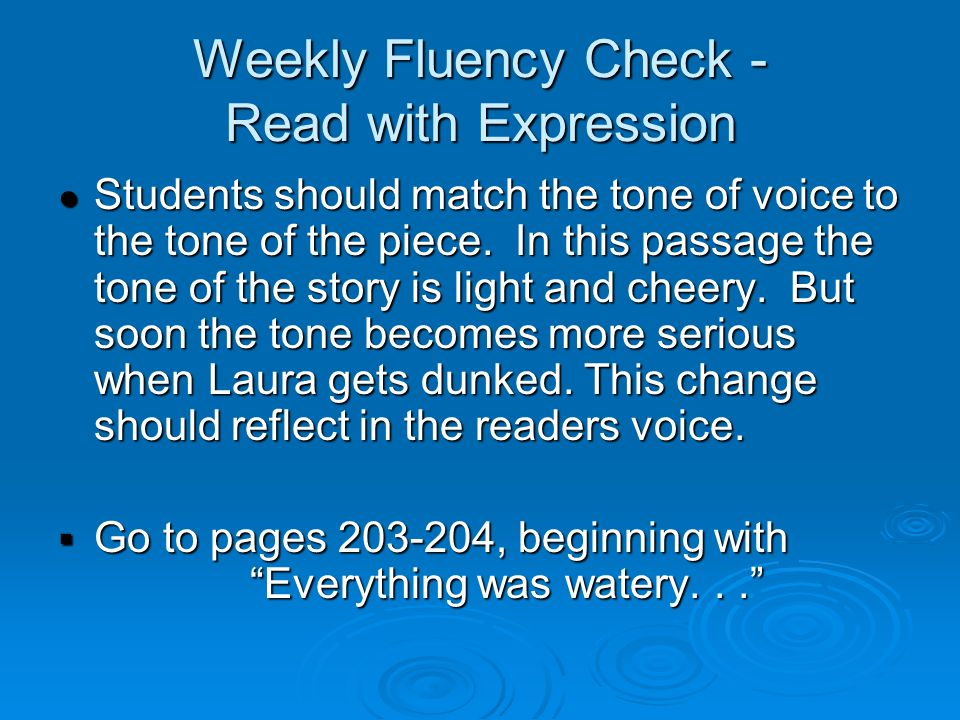Weekly Fluency Check - Read with Expression