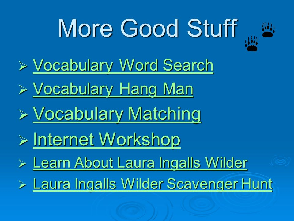 More Good Stuff Vocabulary Matching Internet Workshop