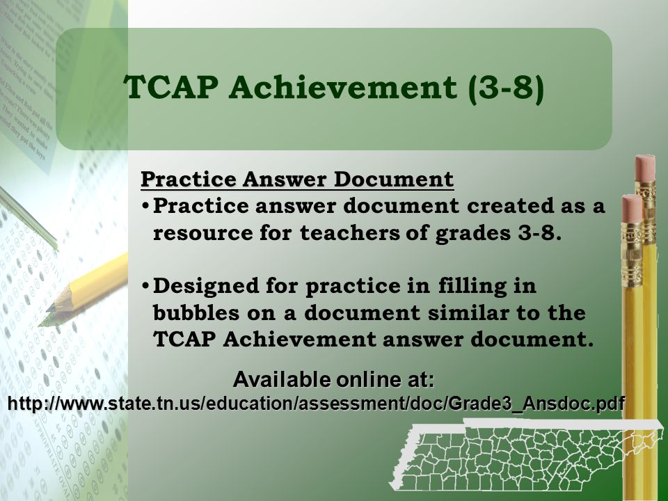TCAP Achievement (3-8) Practice Answer Document