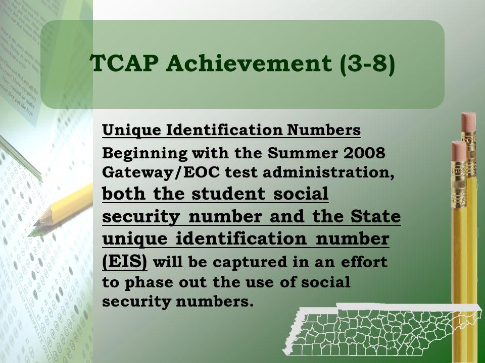 TCAP Achievement (3-8) Unique Identification Numbers