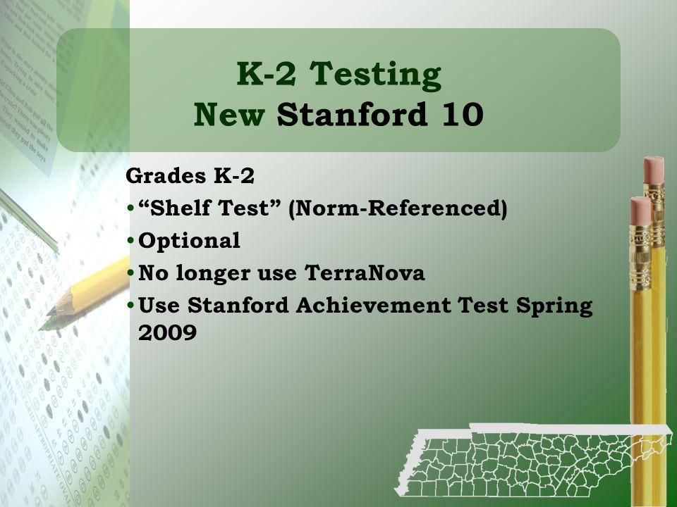 K-2 Testing New Stanford 10
