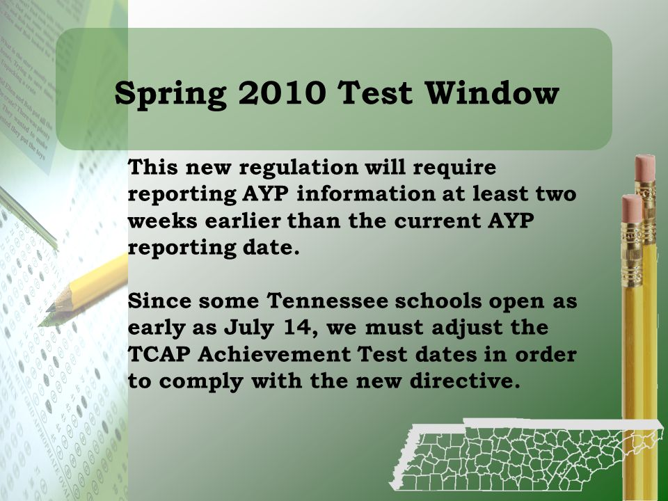 Spring 2010 Test Window This new regulation will require reporting AYP information at least two weeks earlier than the current AYP reporting date.