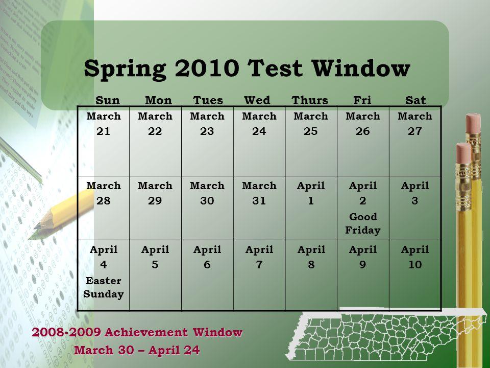 Spring 2010 Test Window Sun Mon Tues Wed Thurs Fri Sat