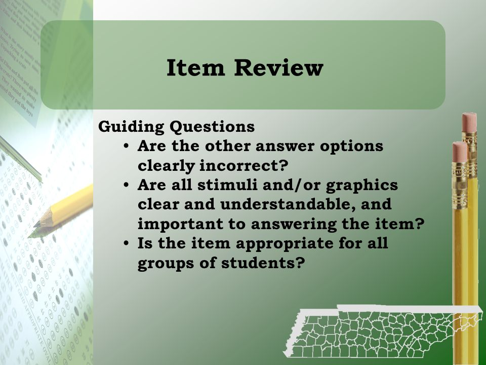 Item Review Guiding Questions