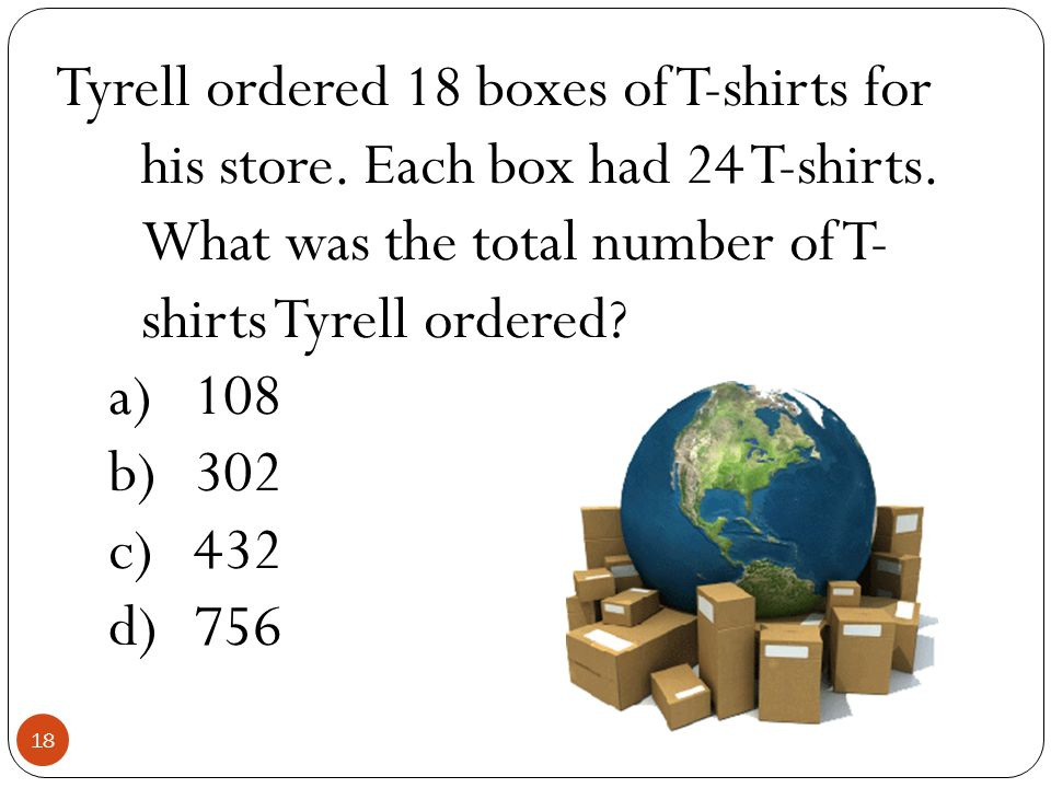 Tyrell ordered 18 boxes of T-shirts for his store