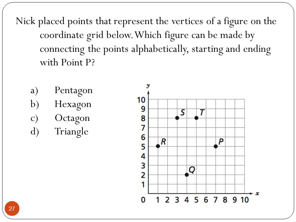Nick placed points that represent the vertices of a figure on the coordinate grid below. Which figure can be made by connecting the points alphabetically, starting and ending with Point P