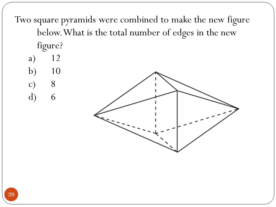 Two square pyramids were combined to make the new figure below