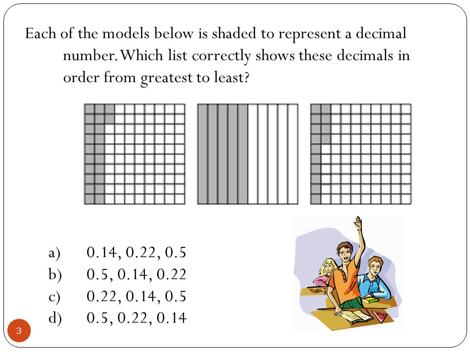 Each of the models below is shaded to represent a decimal number