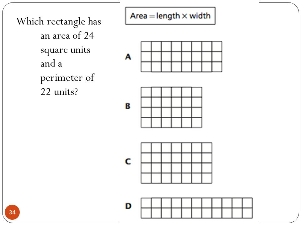 Which rectangle has an area of 24 square units and a perimeter of 22 units