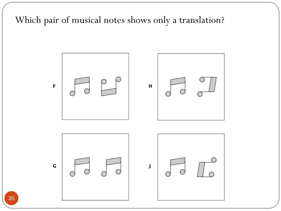 Which pair of musical notes shows only a translation