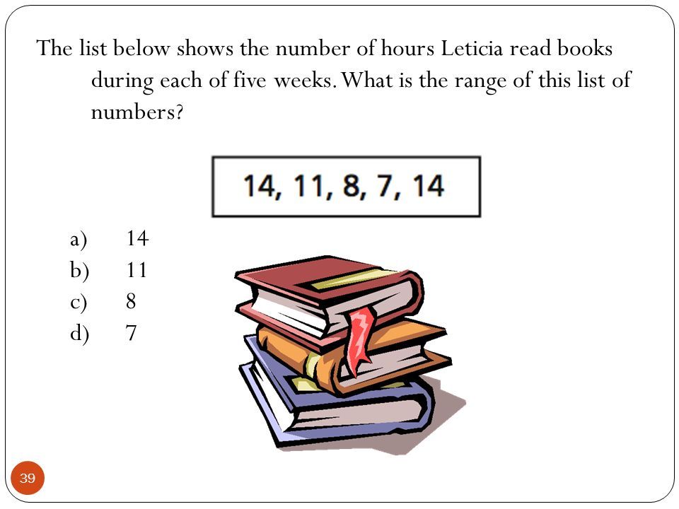 The list below shows the number of hours Leticia read books during each of five weeks. What is the range of this list of numbers