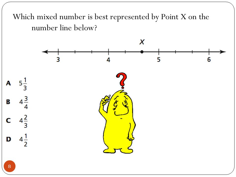 Which mixed number is best represented by Point X on the number line below