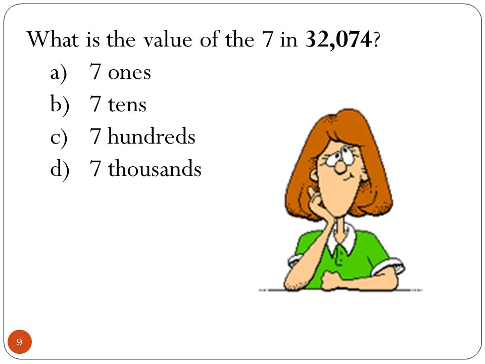 What is the value of the 7 in 32,074