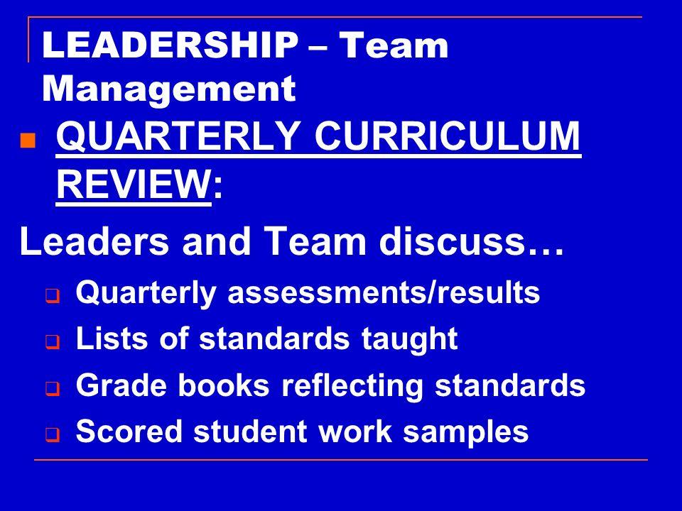 LEADERSHIP – Team Management
