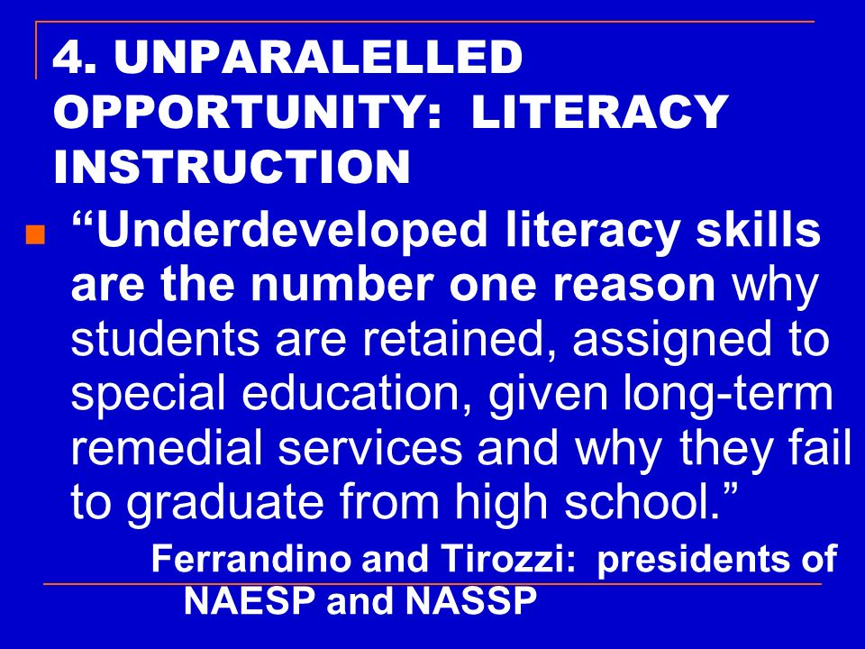 4. UNPARALELLED OPPORTUNITY: LITERACY INSTRUCTION