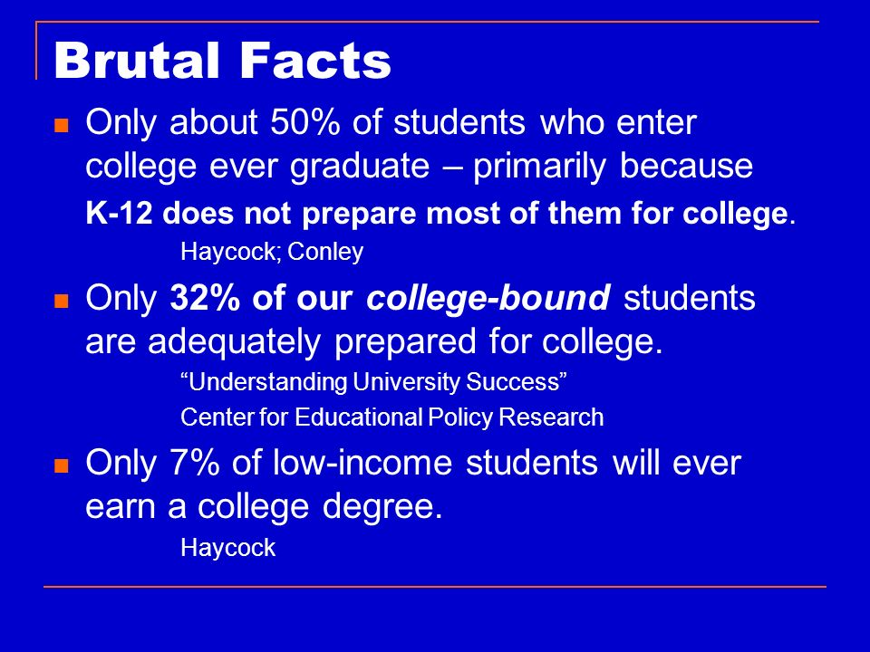 Brutal Facts Only about 50% of students who enter college ever graduate – primarily because. K-12 does not prepare most of them for college.