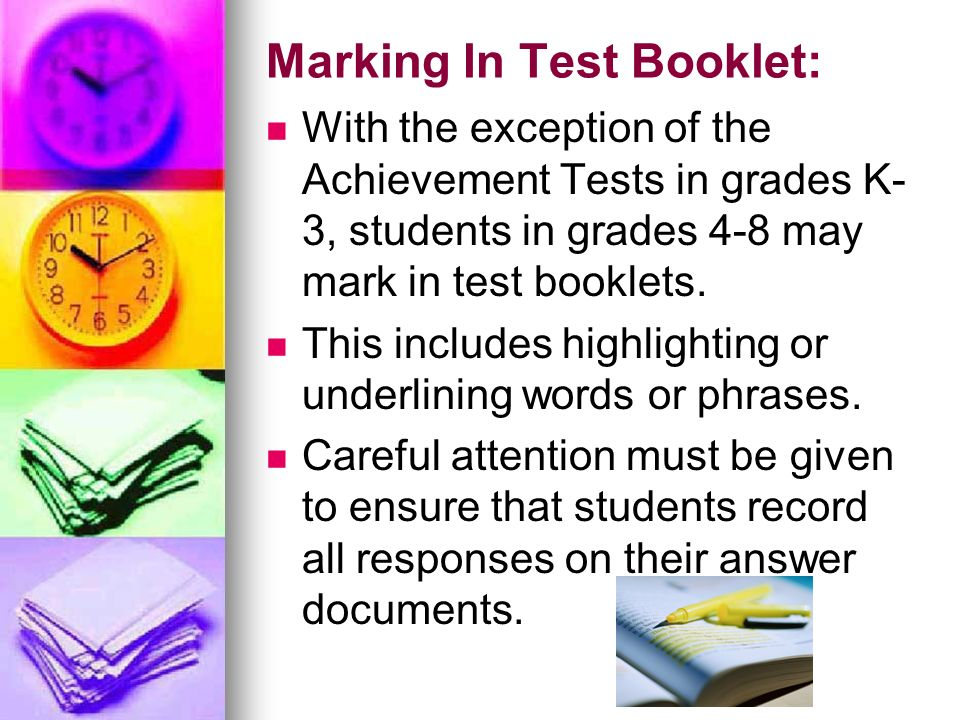 Marking In Test Booklet: