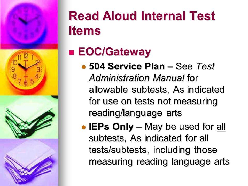 Read Aloud Internal Test Items